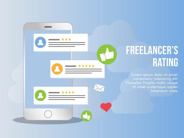Freelancer oceny pojęcie projekta ilustracyjny wektorowy szablon Premium Wektorów