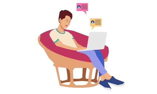 Freelancer Pracujący Zdalnie Z Domu Premium Wektorów