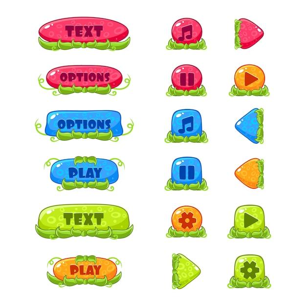 Fruitey Cartoon Buttons, Set Premium Wektorów