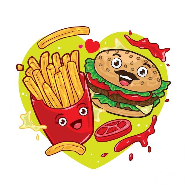 Frytki I Hamburger Premium Wektorów
