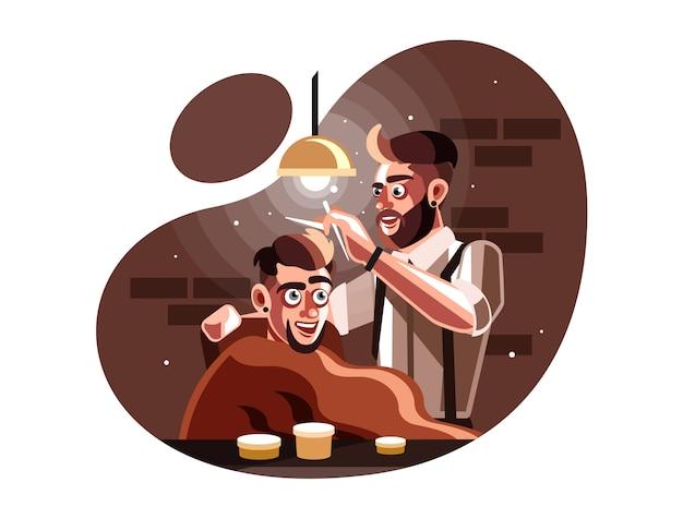 Fryzjera mężczyzna porci klient przy fryzjera męskiego sklepem Premium Wektorów