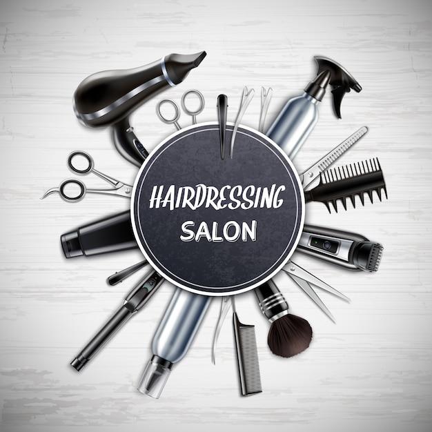 Fryzjerstwo Salonu Fryzjer Męski Sklep Wytłacza Wzory Realistycznego Round Skład Z Nożyce Hairdryer Drobiażdżarki Monochromatyczną Wektorową Ilustracją Darmowych Wektorów