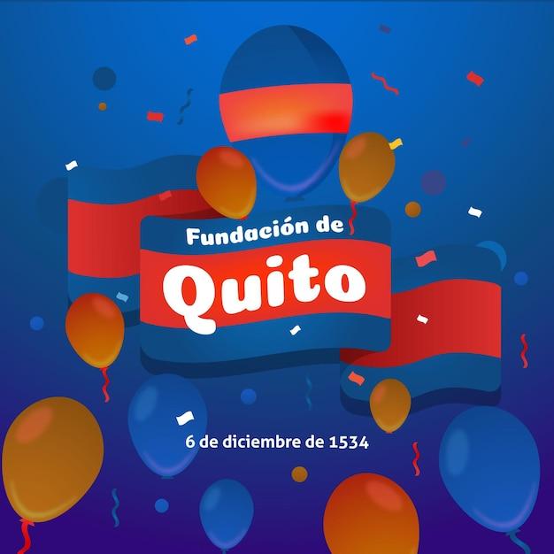 Fundacion De Quito Z Czerwoną I Niebieską Flagą Darmowych Wektorów