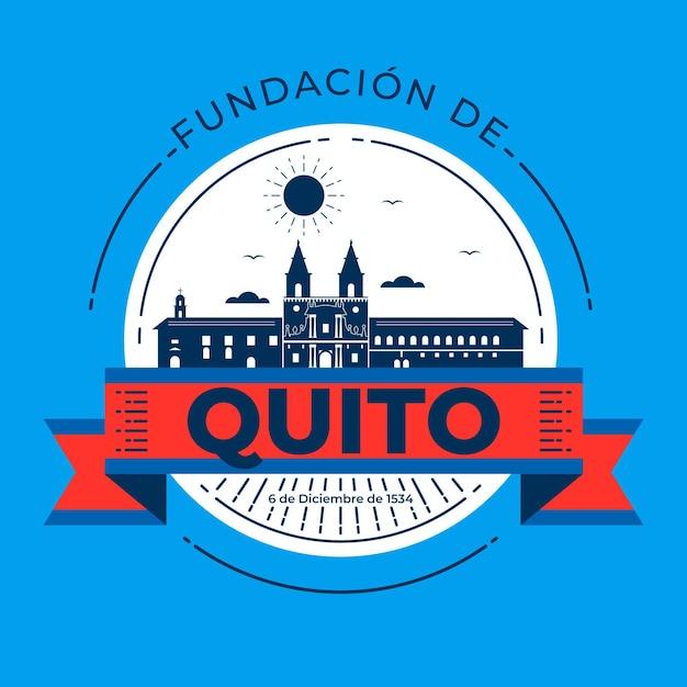 Fundacion De Quito Z Punktem Orientacyjnym Premium Wektorów