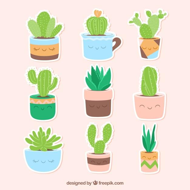 Funny różnych naklejek kaktusowych Darmowych Wektorów