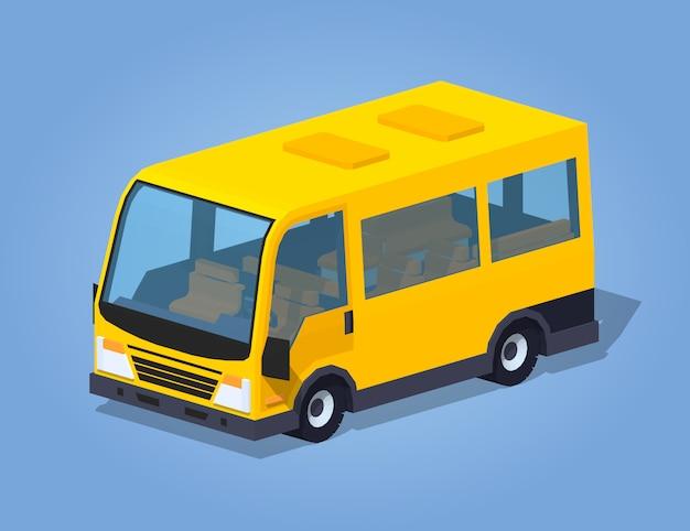 Furgonetka pasażerska low poly yellow Premium Wektorów