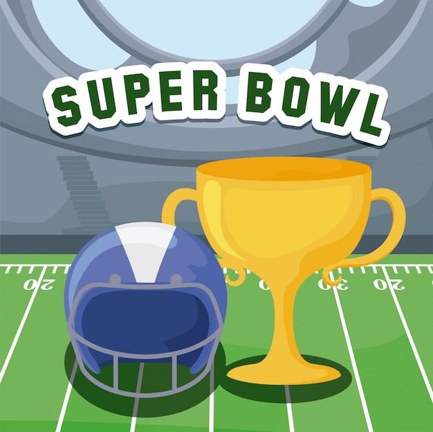 Futbol Amerykański Hełm I Trofeum Nad Polem Premium Wektorów