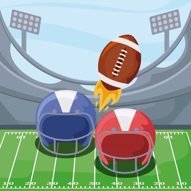 Futbol Amerykański Hełmy I Piłka Nad Polem Premium Wektorów