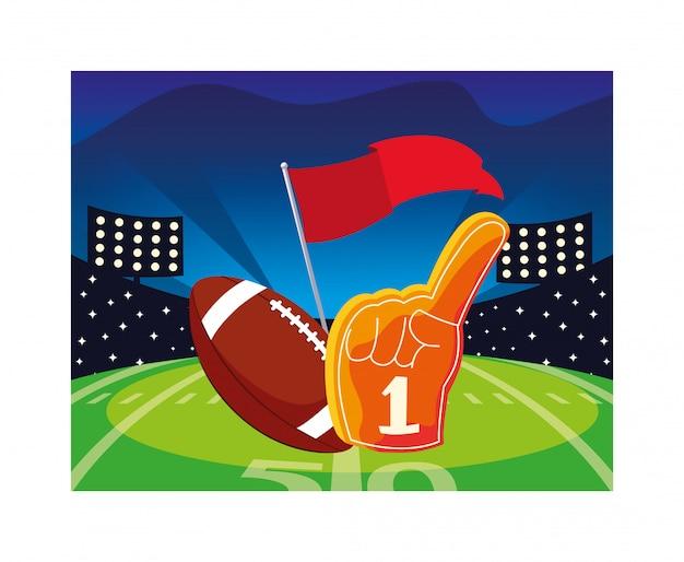 Futbol Amerykański Piłka Z Rękawiczką Na Trawie Stadionu Premium Wektorów