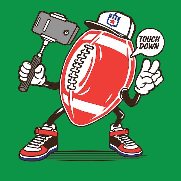 Futbol amerykański projekt postaci selfie Premium Wektorów
