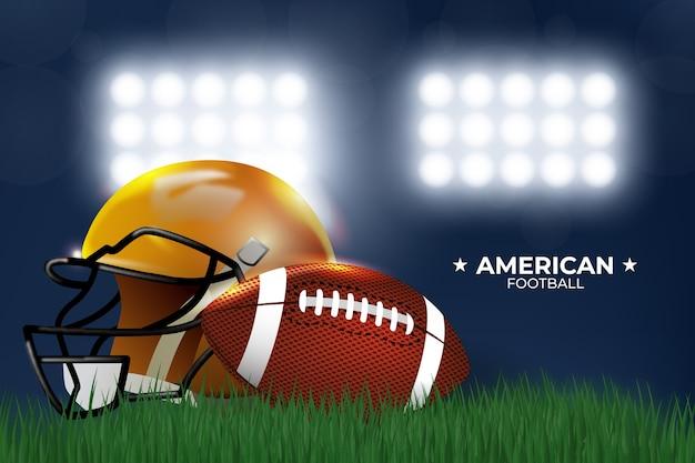 Futbol Amerykański W Stylu Realistycznym Z Kaskiem Darmowych Wektorów