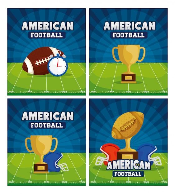 Futbol Amerykański Z Zestawem Ilustracji Dekoracji Premium Wektorów