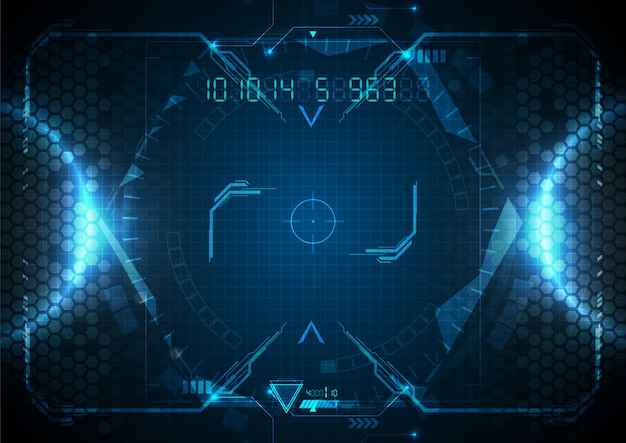 Futuristic blue light technology dane cyfrowe Premium Wektorów