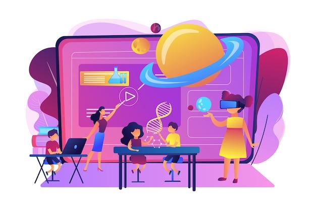 Futurystyczna Klasa, Małe Dzieci Uczą Się Z Zaawansowanym Technologicznie Sprzętem. Inteligentne Przestrzenie W Szkole, Sztuczna Inteligencja W Edukacji, Koncepcja Systemu Zarządzania Nauką. Darmowych Wektorów