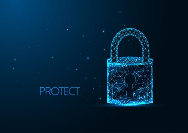 Futurystyczna Koncepcja Bezpieczeństwa Cybernetycznego Ze świecącą Wielokątną Kłódką Z Otworem Na Klucz Premium Wektorów