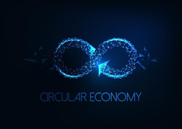 Futurystyczna Koncepcja Gospodarki O Obiegu Zamkniętym Ze świecącym Znakiem Niskiej Nieskończoności Wielokąta Na Ciemnym Niebieskim Tle Premium Wektorów