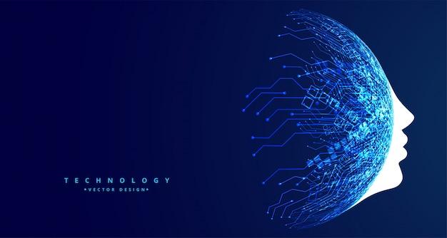 Futurystyczna koncepcja sztucznej inteligencji w technologii twarzy Darmowych Wektorów