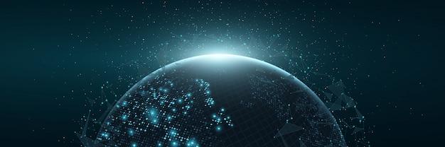 Futurystyczna Planeta Ziemia. świecąca Mapa Kwadratowych Kropek. Globalne Połączenie Sieciowe. Premium Wektorów