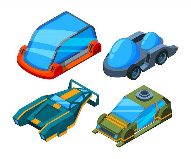 Futurystyczne samochody izometryczne, futurystyczne samochody 3d low poly Premium Wektorów