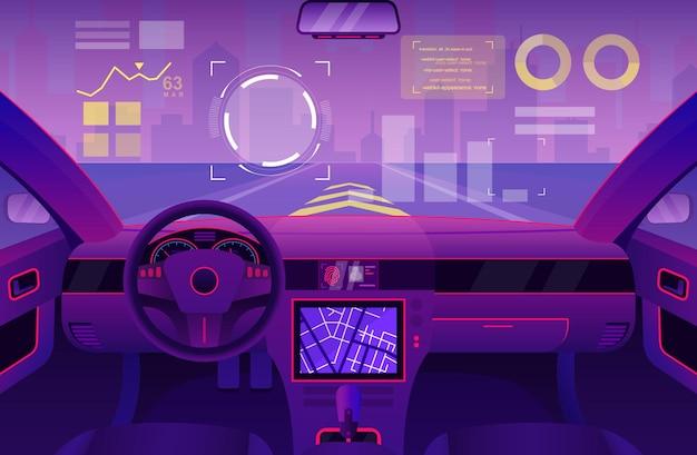 Futurystyczne Wnętrze Samochodu Kabina Samochodowa Z Kreskówek Przyszłości Interfejsu Użytkownika Z Cyfrowym Interfejsem Przedniej Szyby Premium Wektorów