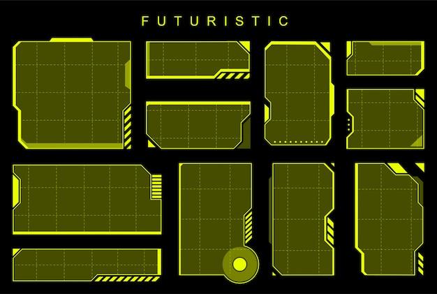 Futurystyczne żółte elementy Premium Wektorów