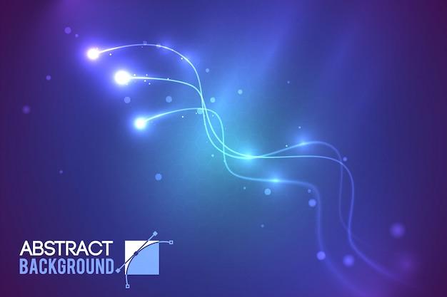 Futurystyczny Abstrakcyjny Szablon Technologiczny Z Zakrzywionymi Liniami I Efektami świetlnymi Na Ciemnej Ilustracji Darmowych Wektorów