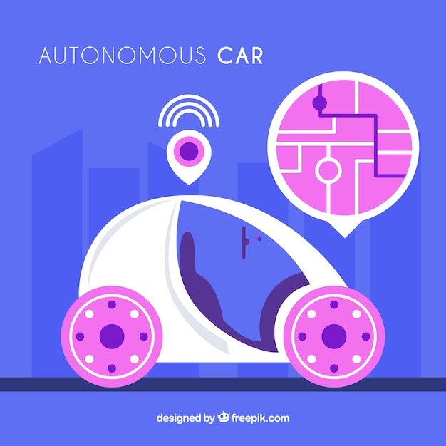 Futurystyczny Autonomiczny Samochód O Płaskiej Konstrukcji Darmowych Wektorów