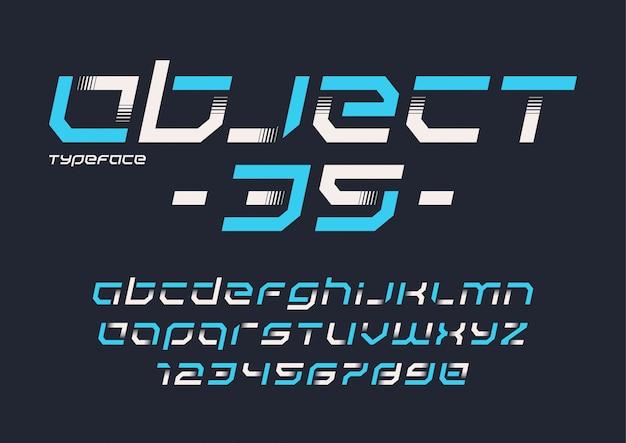 Futurystyczny design kroju pisma przemysłowego Premium Wektorów
