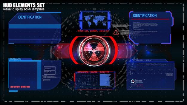 Futurystyczny Ekran Technologii Hud. Widok Taktyczny Sci-fi Vr Dislpay. Interfejs Użytkownika Hud. Futurystyczny Wyświetlacz Head Up Vr. Ekran Technologii Rzeczywistości Rzeczywistej. Premium Wektorów