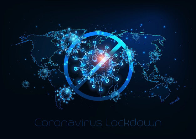 Futurystyczny Globalny Blokada Spowodowana Chorobą Koronawirusa Covid-19. Zatrzymaj Wirusa Premium Wektorów