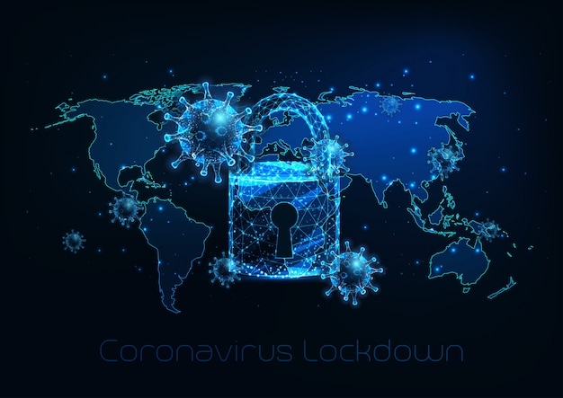 Futurystyczny Globalny Blokada Z Powodu Choroby Koronawirusa Covid-19 Z Komórkami Wirusa, Kłódką, Mapą świata Premium Wektorów