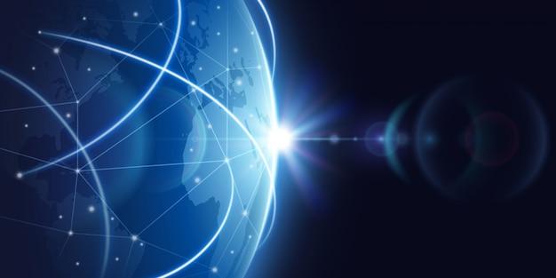 Futurystyczny globalny tło sieci internetowej. globalna koncepcja wektor globalizacji Premium Wektorów