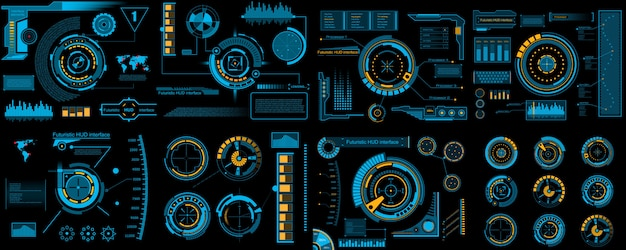 Futurystyczny interfejs hud, infografiki sci fi. Premium Wektorów