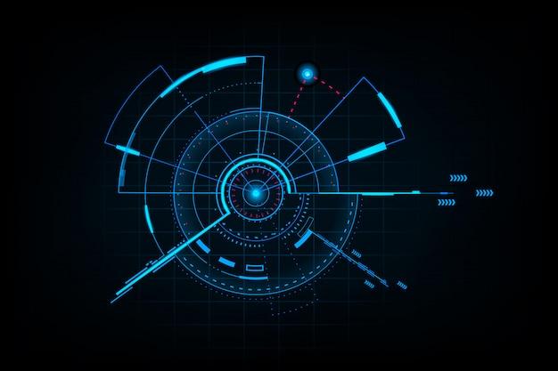 Futurystyczny Interfejs Technologii Abstrakcyjnej. Element Cyfrowego Interfejsu Użytkownika Premium Wektorów
