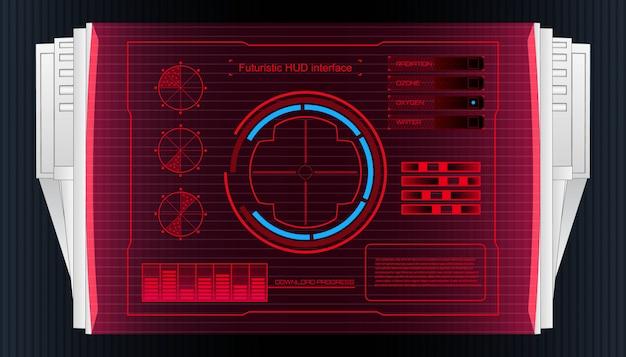 Futurystyczny interfejs technologii interfejs interfejsu użytkownika hud. Premium Wektorów