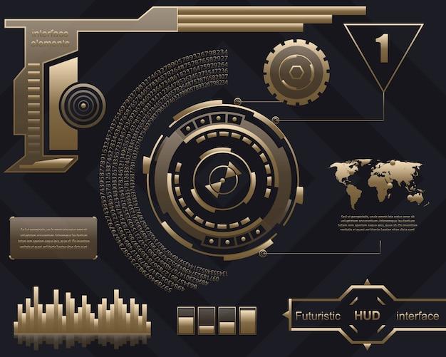 Futurystyczny interfejs technologii interfejs użytkownika hud. Premium Wektorów
