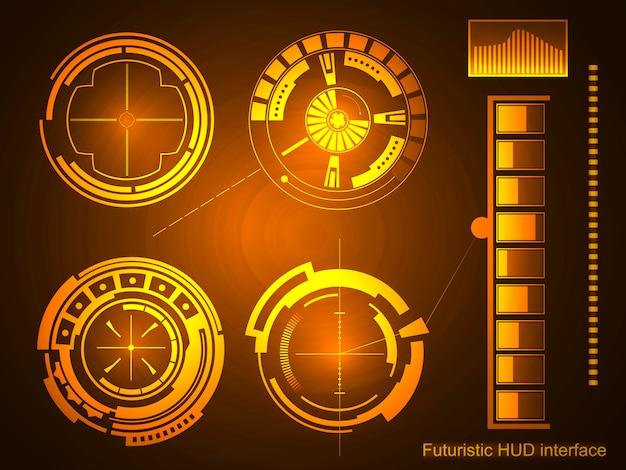 Futurystyczny interfejs technologii tło interfejsu hud. Premium Wektorów
