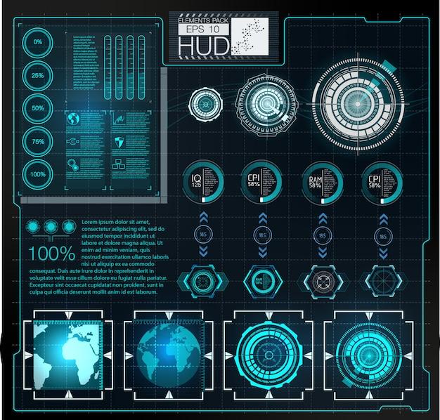 Futurystyczny interfejs użytkownika. hud tle przestrzeni kosmicznej. plansza elementów. Premium Wektorów
