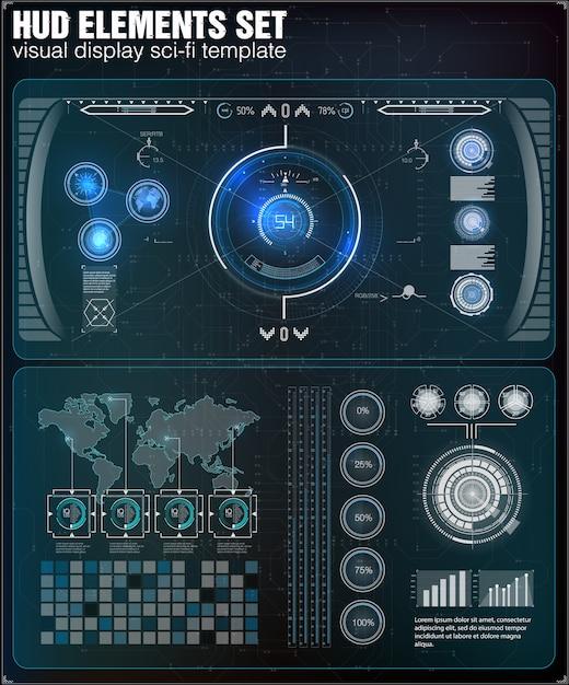 Futurystyczny Interfejs Użytkownika. Hud Ui. Streszczenie Wirtualny Graficzny Interfejs Użytkownika Dotykowy. Infografika. Premium Wektorów