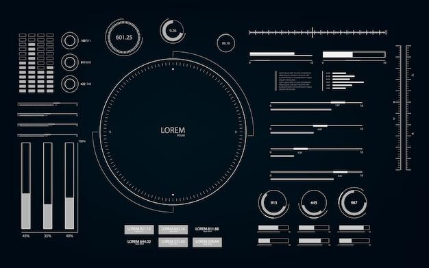 Futurystyczny Interfejs Użytkownika Z Elementami Hud I Infografiki. Premium Wektorów