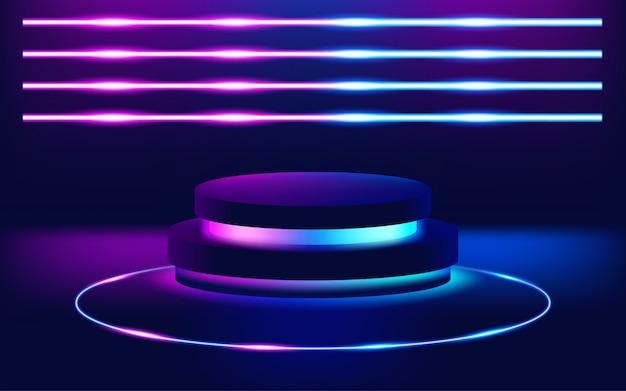 Futurystyczny Neonów Sceny Podłoga Tło. Ilustracja Premium Wektorów