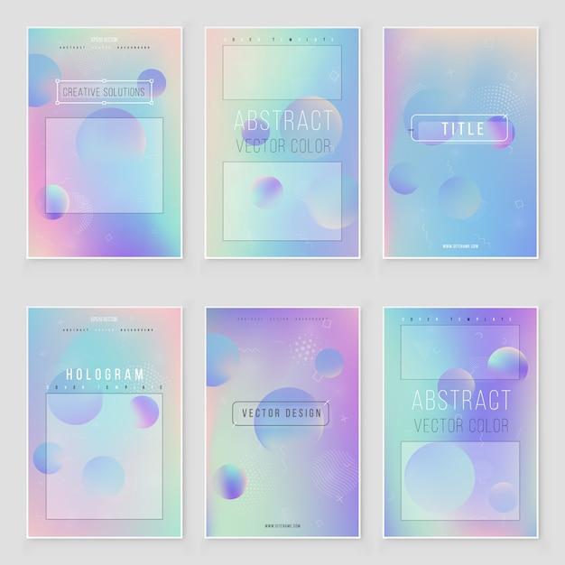 Futurystyczny nowoczesny zestaw okładek holograficznych. styl retro z lat 90-tych, 80-tych. opalizujący wzór Premium Wektorów