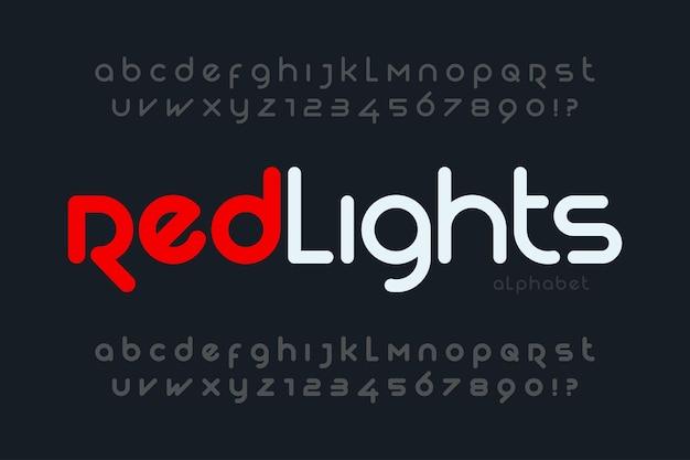 Futurystyczny Projekt Alfabetu, Krój Pisma, Litery I Cyfry. Znaki Wektorowe. Premium Wektorów