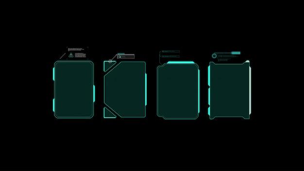 Futurystyczny Projekt Ekranu Interfejsu Hud Wektorowego. Tytuły Objaśnień Cyfrowych. Hud Ui Gui. Premium Wektorów