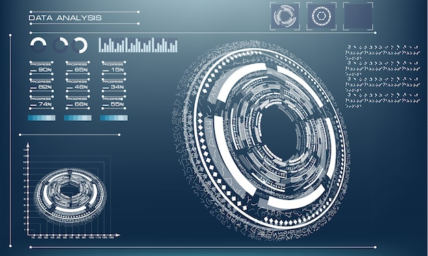 Futurystyczny przyszłościowy okrąg na błękitnym tle Premium Wektorów