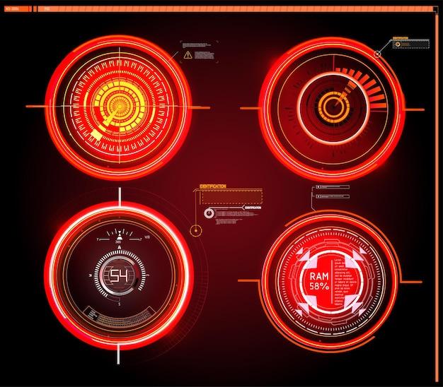 Futurystyczny Pulpit Nawigacyjny Sci-fi Hud Wyświetla Ekran Technologii Wirtualnej Rzeczywistości. Premium Wektorów