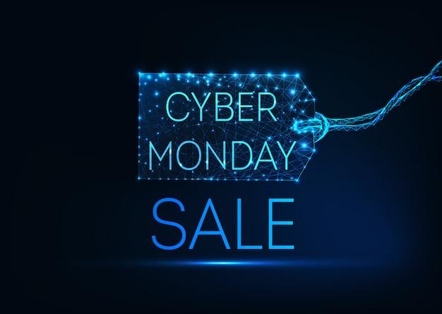 Futurystyczny świecące Low Poly Cyber Poniedziałek Koncepcja Na Ciemnym Niebieskim Tle Premium Wektorów