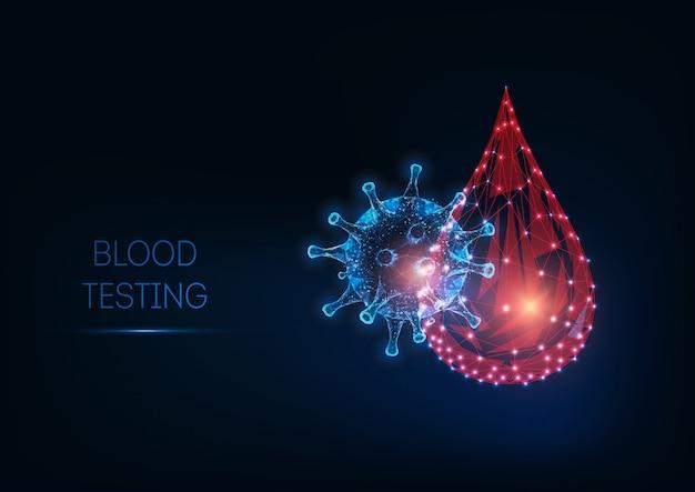 Futurystyczny świecące niskiej wielokąta koncepcja badania krwi Premium Wektorów