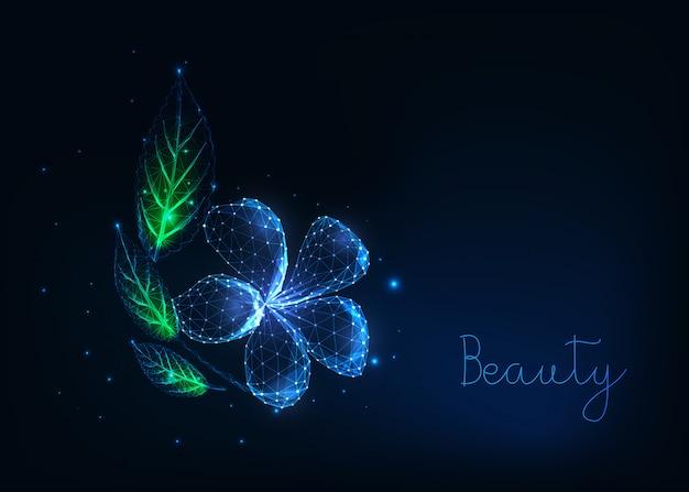 Futurystyczny świecący niski wielokątny piękny kwiat plumeria z zielonymi liśćmi na ciemnoniebieskim. Premium Wektorów