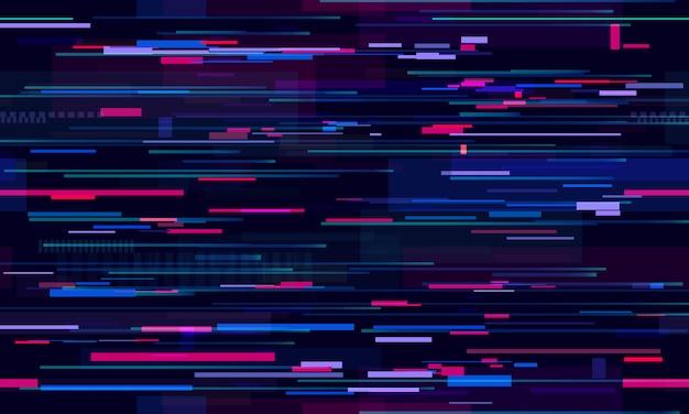 Futurystyczny usterka neonowa. glitched nocne linie technologiczne, ruch uliczny i technologia wzór Premium Wektorów